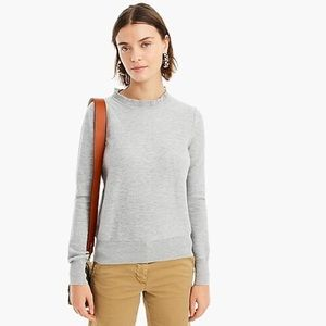 J.Crew Ruffle Neck Sweater In Charcoal Gray